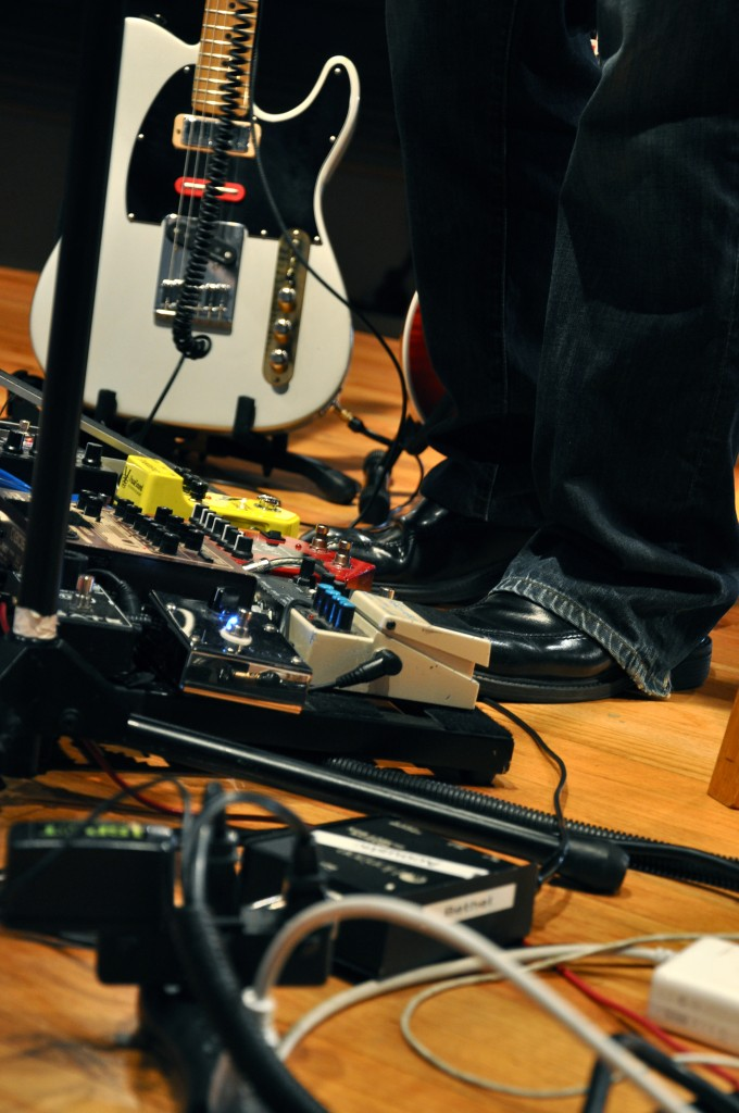 guitar pedals and mixing board