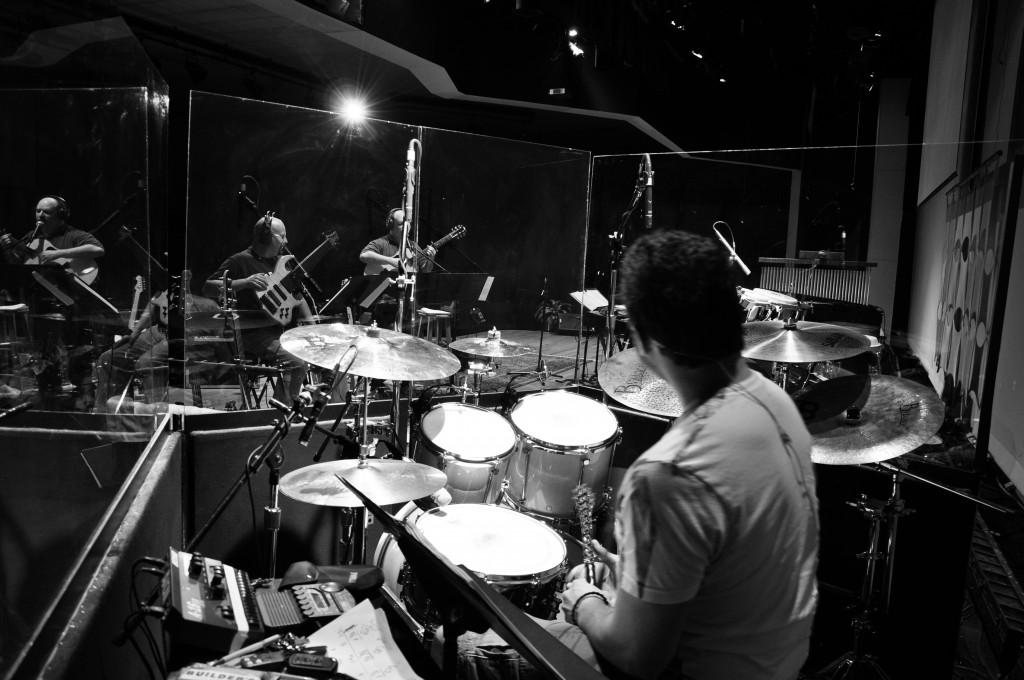 Drum set from behind