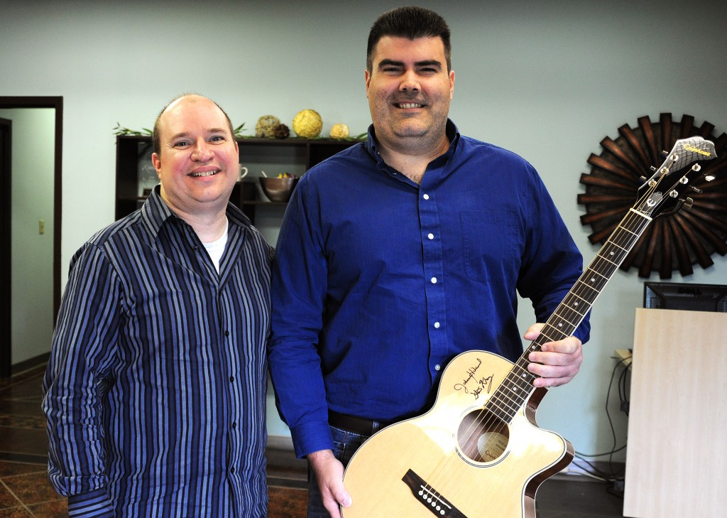steve krenz and landon with an epiphone pr-4e
